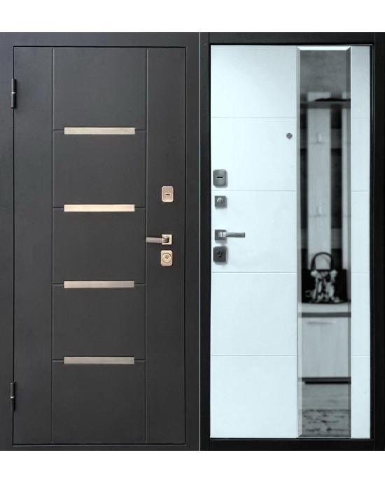 Входная дверь Форпост Эльбрус Зеркало белый дуб